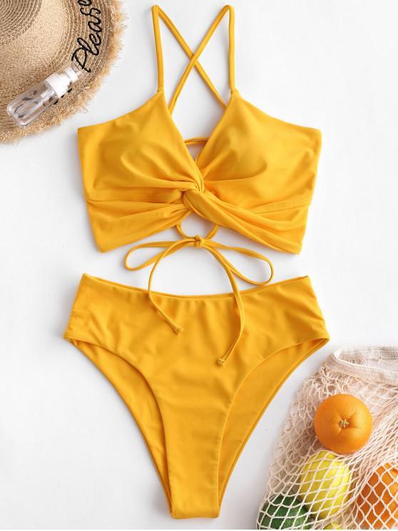 womens ZAFUL Twisted Lace Up High Waisted Tankini Swimsuit - RUBBER DUCKY YELLOW XL