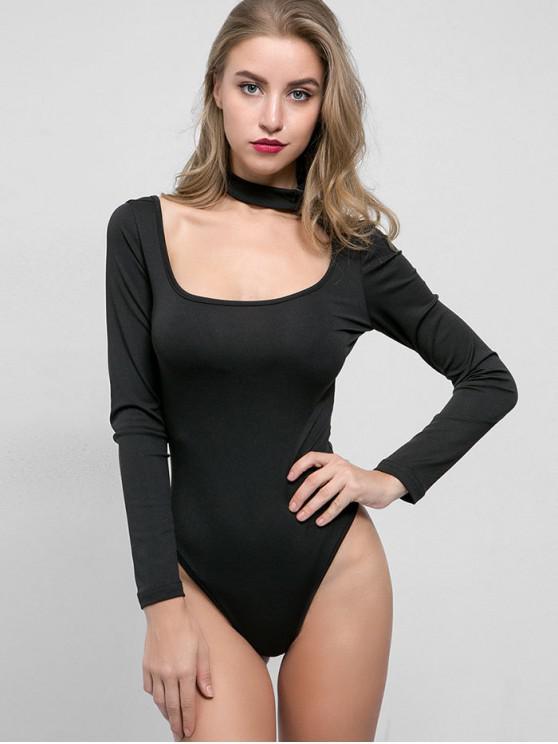 outfit Solid Color High Cut Choker Bodysuit - BLACK S