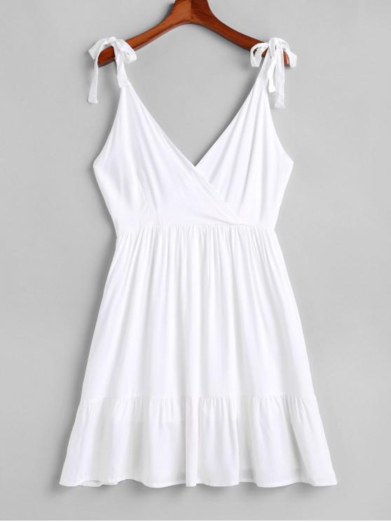 womens Open Back Tied Straps Surplice Mini Dress - WHITE L