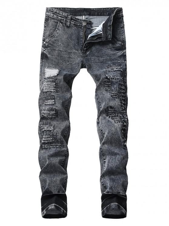 ladies Long Straight Patchwork Ripped Jeans - BLACK 36