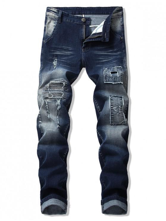 trendy Destroy Wash Pleated Patchwork Scratch Long Jeans - DENIM DARK BLUE 36