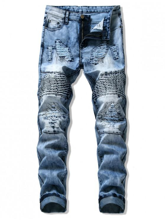 ladies Pleated Patchwork Splicing Ripped Casual Biker Jeans - JEANS BLUE 36