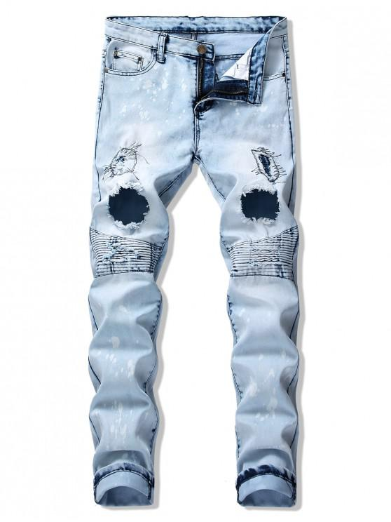 fancy Pleated Patchwork Spliced Painting Ripped Long Jeans - JEANS BLUE 38
