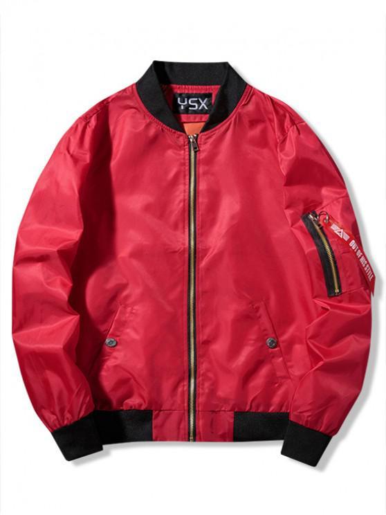 Chaqueta bomber de bolsillo con cremallera y estampado gráfico - Rojo L