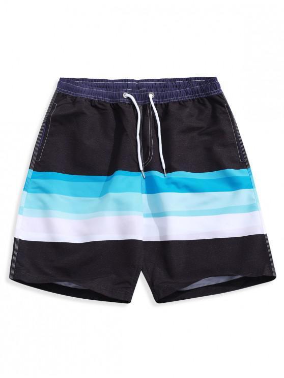 women's Color Block Splicing Print Casual Board Shorts - MULTI-B L
