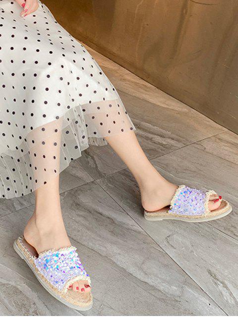 Sandales Plates en Paille à Paillettes - Blanc EU 37 Mobile
