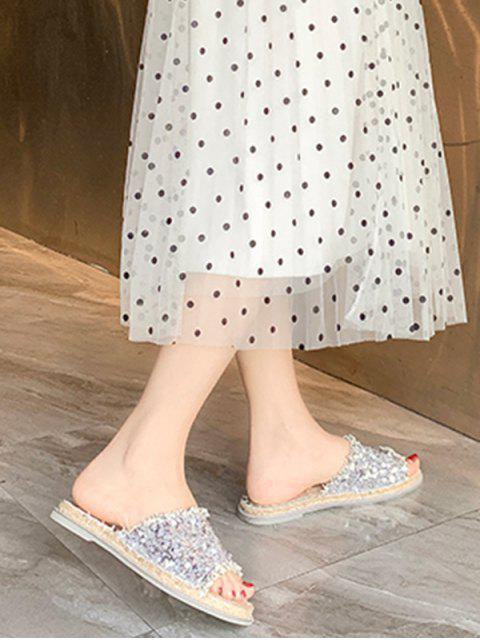 Sandales Plates en Paille à Paillettes - Blanc EU 36 Mobile