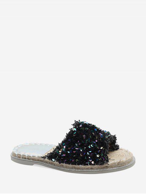 Sandales Plates en Paille à Paillettes - Noir EU 35 Mobile