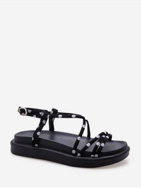 Sandales à Bretelle Croisée Motif à Pois - Noir EU 37 Mobile