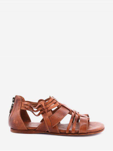 Sandales plates en cuir - Brun EU 42 Mobile