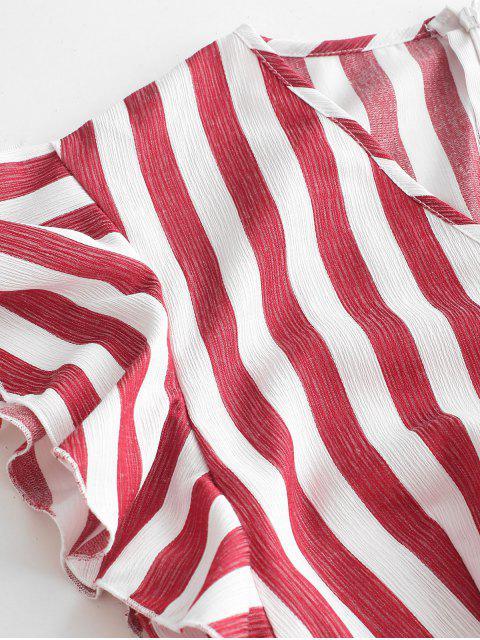 ZAFUL Robe Ceinturée Superposée Rayée à Volants - Rouge Vineux L Mobile