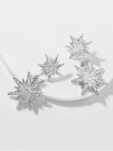 Boucles d'Oreille Etoiles Design avec Strass - Argent  Mobile