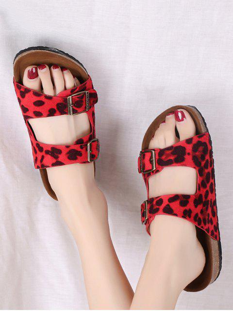 Léopard deux boucles sangles glisse sandales - Rouge EU 38 Mobile