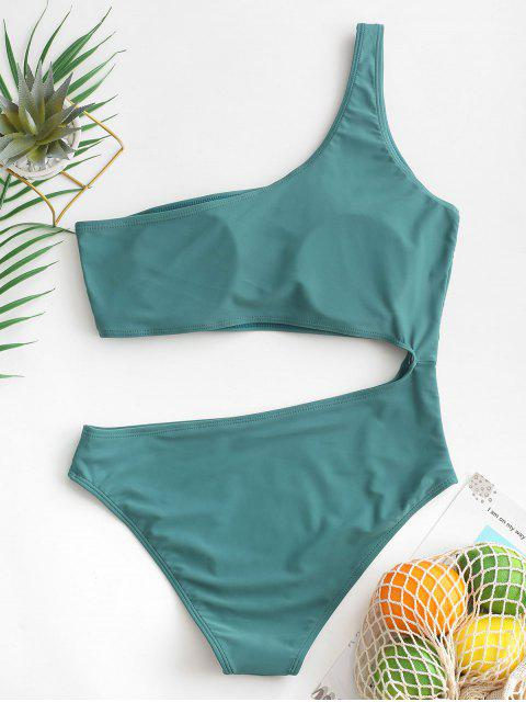 fancy ZAFUL Cut Out One Shoulder One-piece Swimsuit - MACAW BLUE GREEN XL Mobile