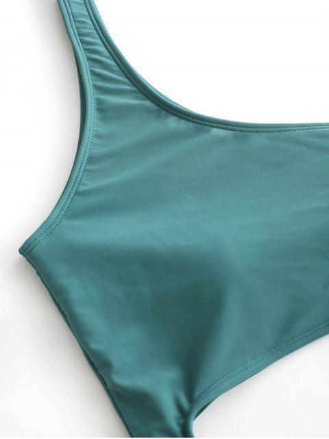 ZAFUL Maillot de Bain Découpé Une Épaule Une-Pièce - Bleu Vert Ara  L Mobile