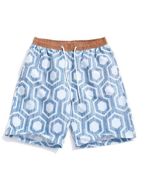 lady Geometric Print Holiday Beach Casual Shorts - BLUE GRAY M Mobile