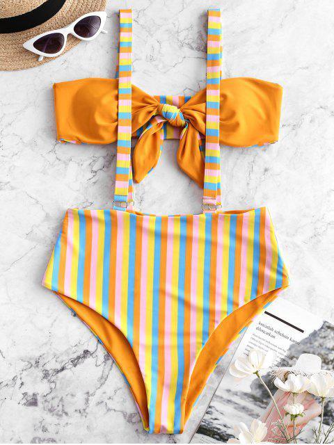 ZAFUL Maillot de Bain Bikini Réversible Rayé Noué à Bretelle - Brun Sable XL Mobile