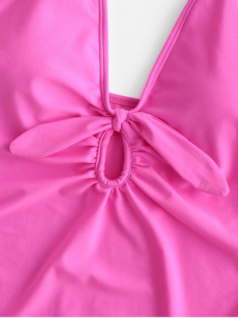 ZAFUL Keyhole Knotted Plunge traje de baño de talle alto - Rosa Brillante L Mobile
