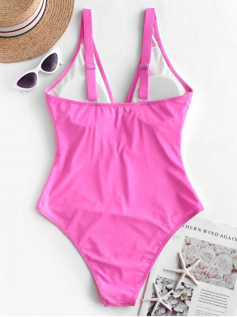 shop ZAFUL Keyhole Knotted Plunge High Waisted Swimsuit - HOT PINK XL Mobile