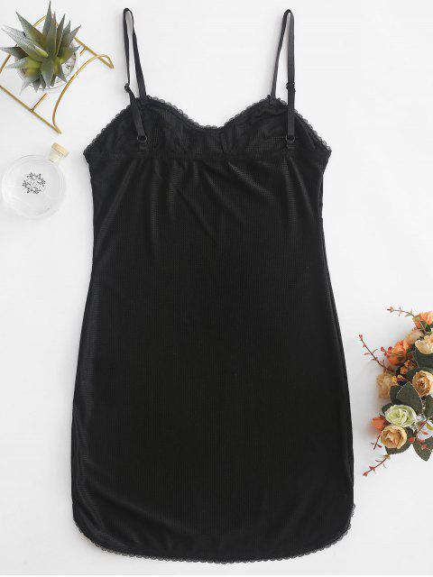 Robe de Nuit Moulante à Bretelle à Ourlet en Dentelle - Noir S Mobile