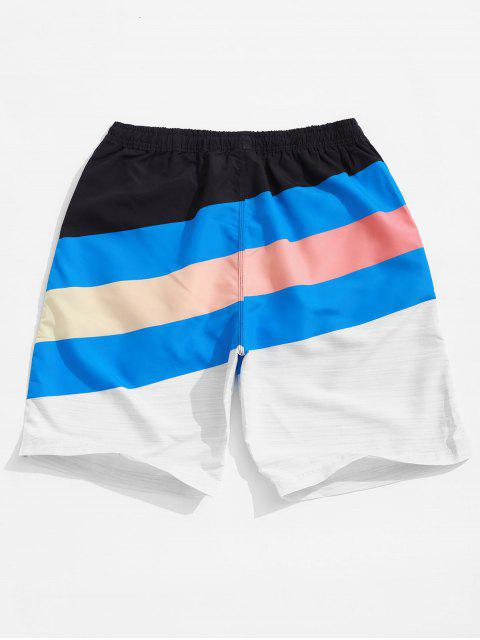 outfits Color Block Splicing Stripes Print Board Shorts - MULTI M Mobile
