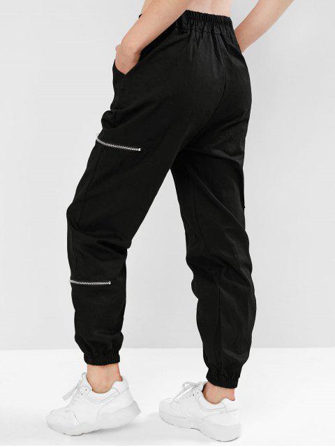 Flap bolsillos con cremallera Jogger pantalones - Negro L Mobile