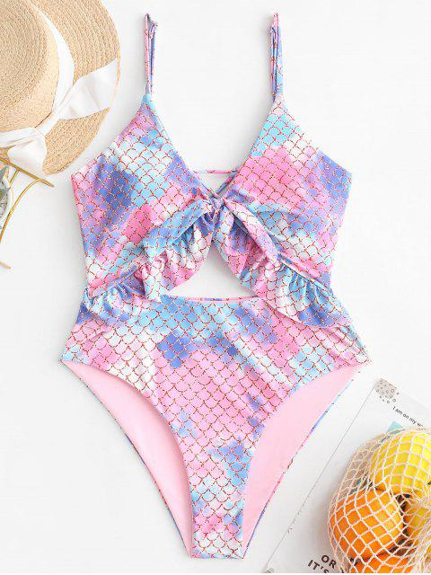 womens ZAFUL Knotted Ruffled Lace Up One-piece Mermaid Swimsuit - PINK M Mobile