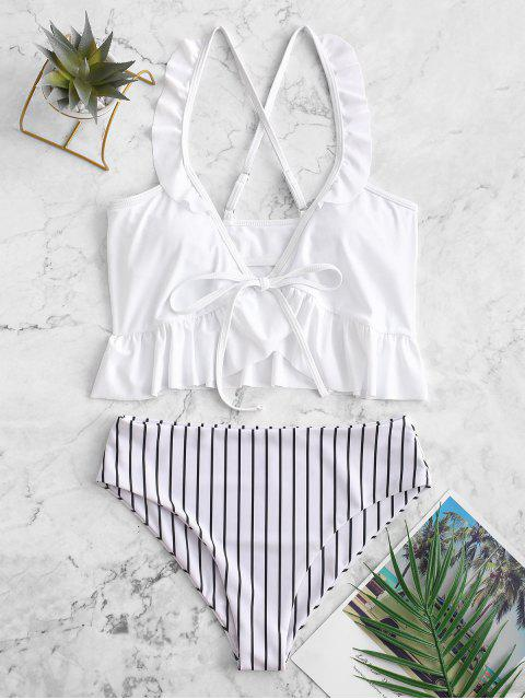 women ZAFUL Striped Ruffle Criss Cross Tankini Swimsuit - WHITE S Mobile