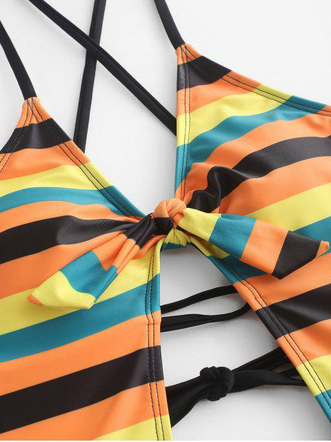 lady ZAFUL Cross Striped Lace Up Knotted One-piece Swimsuit - MULTI-A S Mobile
