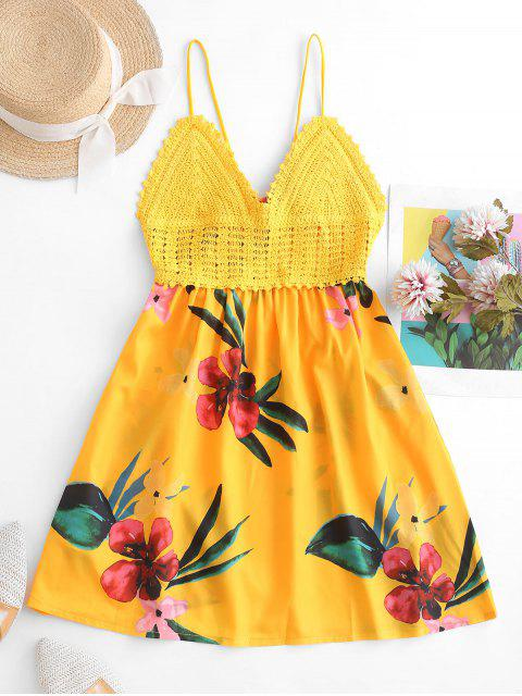 chic ZAFUL Crochet Panel Floral Print Slip A Line Dress - BEE YELLOW ONE SIZE Mobile
