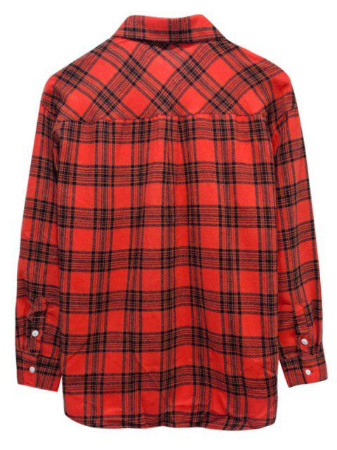 trendy Plaid Print Button Up Casual Pocket Shirt - RED L Mobile