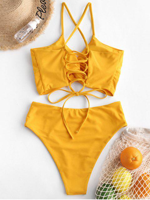 chic ZAFUL Twisted Lace Up High Waisted Tankini Swimsuit - RUBBER DUCKY YELLOW M Mobile