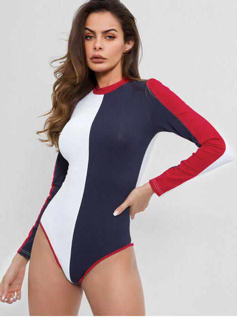 chic Color Block Buttoned Long Sleeves Bodysuit - MULTI-A S Mobile