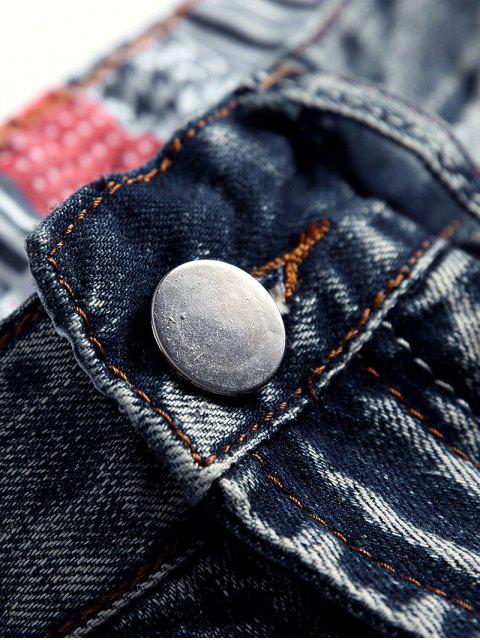 latest Destroy Wash Scratch Long Straight Jeans - JEANS BLUE 32 Mobile
