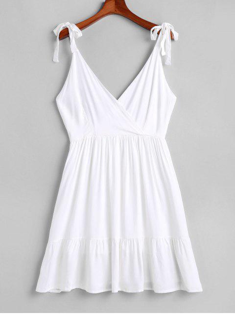 Mini vestido de sobrepelliz con tirantes y espalda abierta - Blanco S Mobile