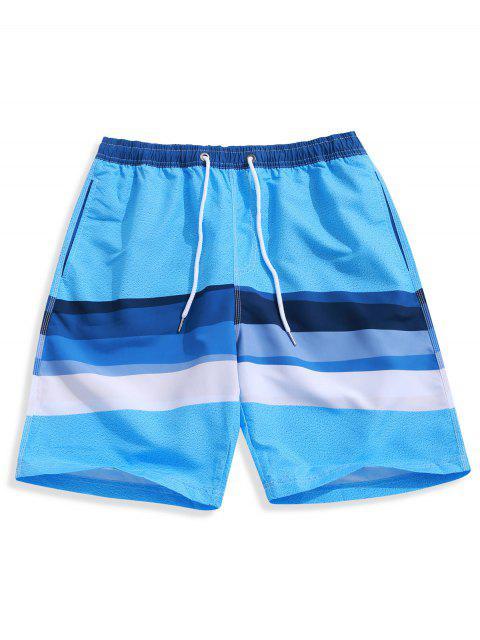 Shorts de Playa Casuales con Estampado de Empalme de Color Bloque con Cordón - Multicolor L Mobile