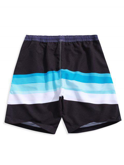 Shorts de Playa Casuales con Estampado de Empalme de Color Bloque con Cordón - Multicolor-B L Mobile