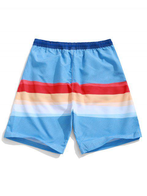 Shorts de Playa Casuales con Estampado de Empalme de Color Bloque con Cordón - Multicolor-A M Mobile