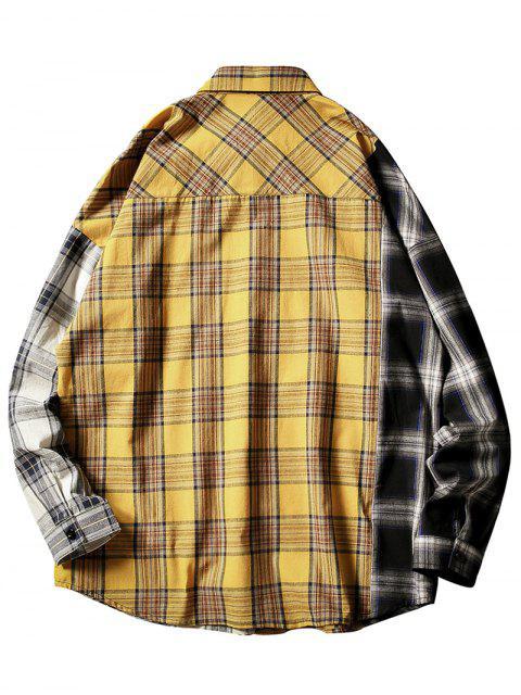 Kontrast Karierter Druck Knopf Taschen Hemd - Gelb L Mobile