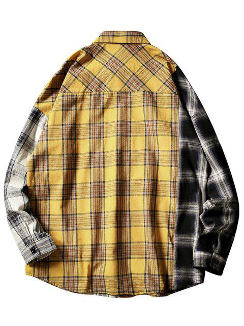 fancy Contrast Plaid Print Button Up Pocket Shirt - YELLOW L Mobile