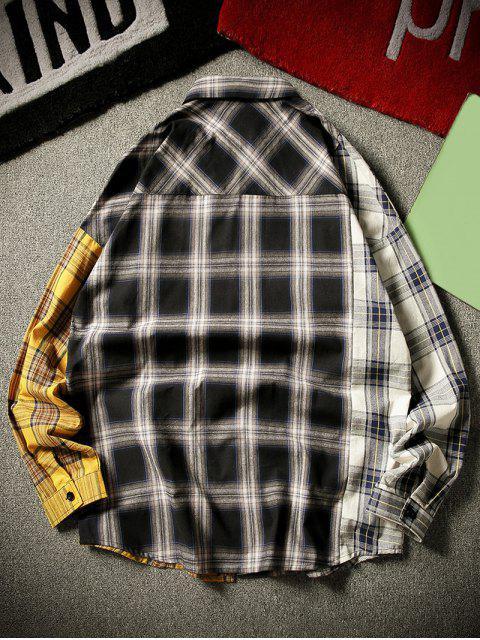 fancy Contrast Plaid Print Button Up Pocket Shirt - BLACK XL Mobile