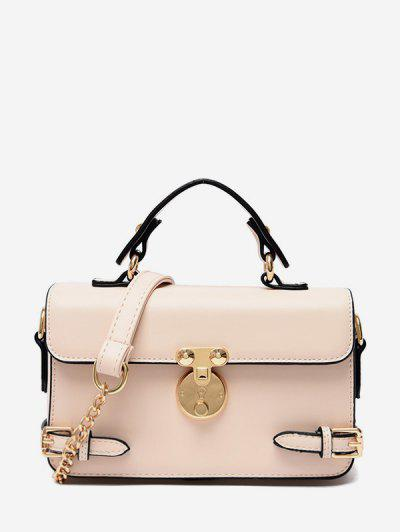 Square Solid Hasp Crossbody Bag - Warm White ...