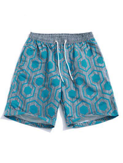 e096bce094 Geometric Print Holiday Beach Casual Shorts - Blue Ivy 2xl ...