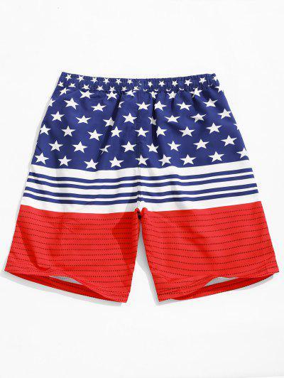 73a1914433 ... Star And Stripes American Flag Print Holiday Beach Shorts - Multi 2xl