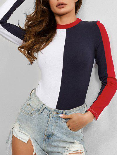 Color Block Buttoned Long Sleeves Bodysuit - Multi-a M
