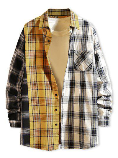 Contrast Plaid Print Button Up Pocket Shirt - Yellow L