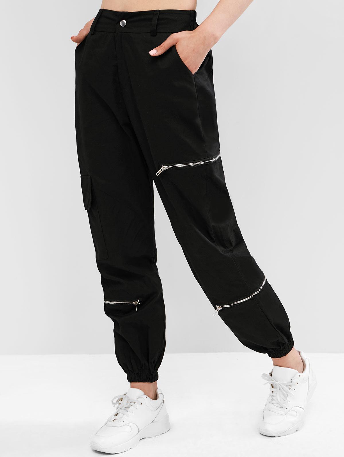 Flap Pockets Zippered Jogger Pants thumbnail