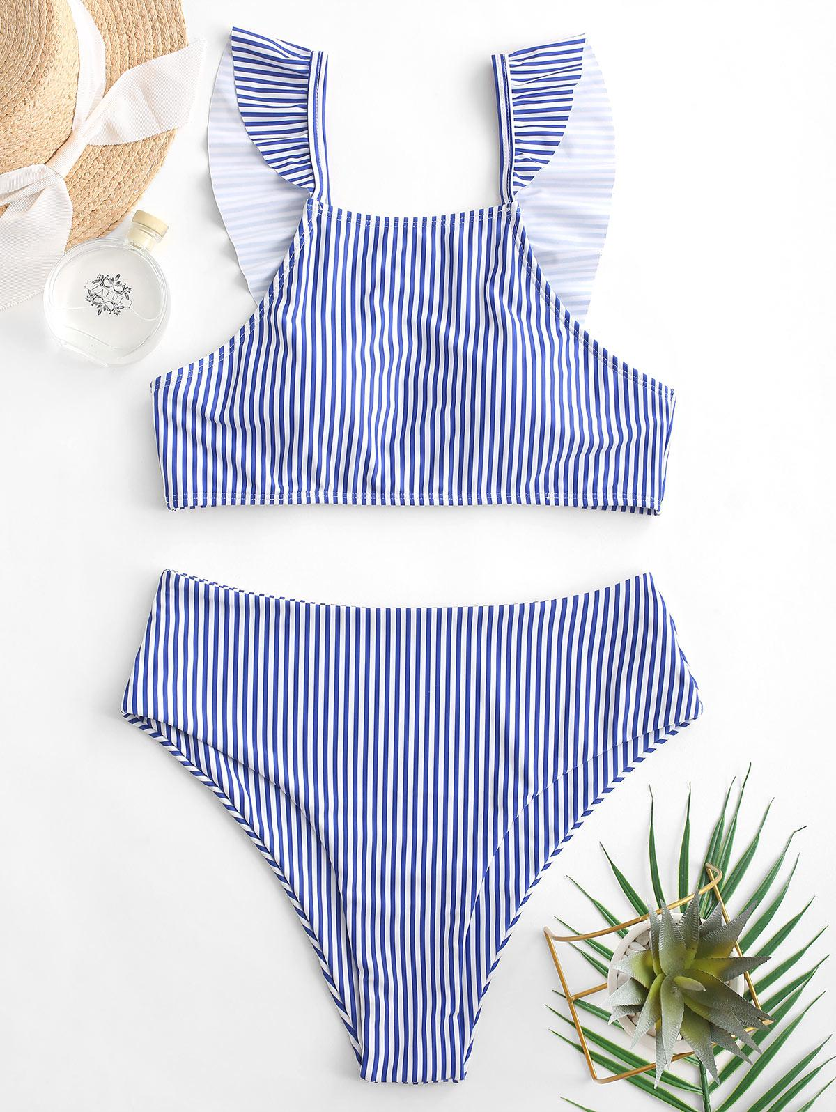 ZAFUL Ruffle Stripe Tankini Swimsuit, Blueberry blue