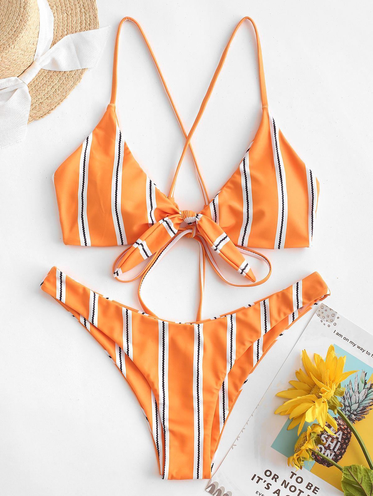 ZAFUL a Strisce Criss Cross Legato Bikini Costume da bagno