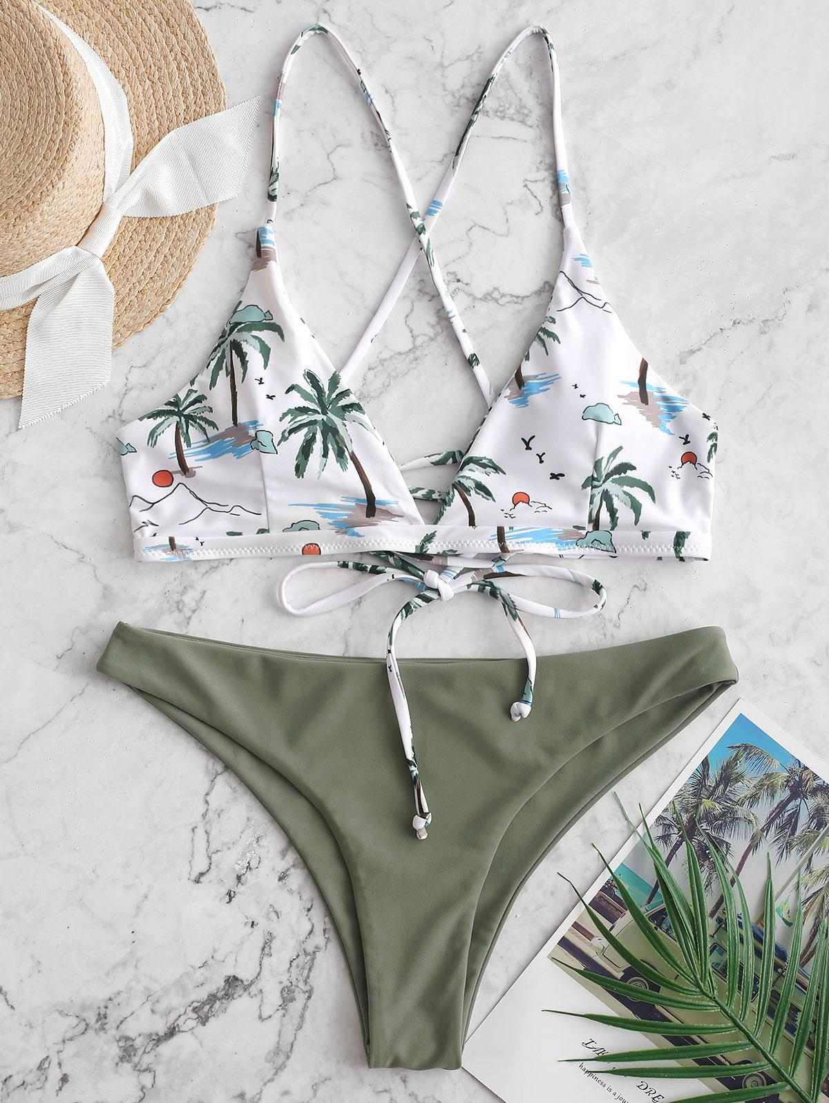 ZAFUL Coconut Palm Lace Up Padded Bikini Swimsuit фото